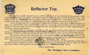 Reflector Top Stove Legal Threat Postcard
