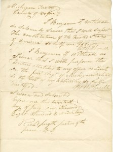 Benjamin F. Witherell's oath of office as Lieutenant of the 1st Regiment of the Michigan Militia, 1819.