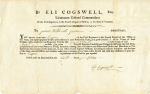 This document shows James Witherell's promotion to surgeon in the Militia of the State of Vermont in 1793.