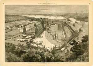 Engraving showing the exposition grounds taken from the August 17, 1889 Harper's Weekly supplement.