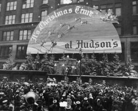 A crowd gathered to see Santa in 1949.