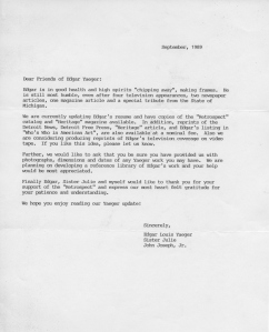 Letter updating Yaeger supporters about his health and activities, 1989.