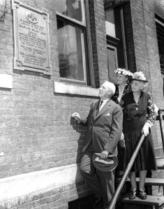 Charles Brady King at a historical marker dedication in his honor, 1946.