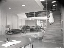 The lobby was replete with modern furnishings, c. 1955.