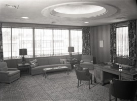 The plush corner office of president James Vernor Davis, c. 1955.