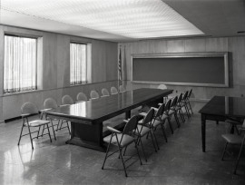 This boardroom was remarkably utilitarian, c. 1955.