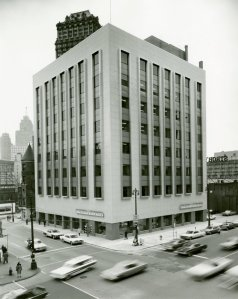 c. 1965, the completed new façade on the Rockwell-Standard Building.