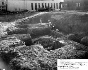 Excavation and Footings, Detroit Public Library in the background.