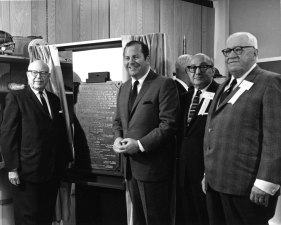 Kresge Exhibit Hall Dedication Left to right: Mr. Stanley S. Kresge, Mayor Jerome Cavanagh, Mr. Leonard N. Simons, and Mr. Gordon Rice.
