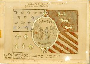 David Emil Heineman's original sketch for the flag of the city of Detroit.