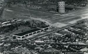 1949, City Airport original terminal and hangars. The hazardously close gas tank was removed in the 1960s.