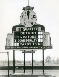c. 1935, football scoreboard at University of Detroit Stadium