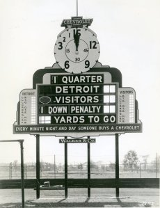 c. 1935, football scoreboard at University of Detroit Stadium