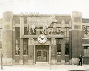 1936, Detroit Creamery Company and Artic Dairy Products Company main office, south corner of Grand River Avenue and Sycamore Street.