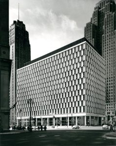 The newly completed building in 1959, with its Royal Umber penthouse and Georgia White Cherokee marble and glass curtain walls (photo by Balthazar Korab).