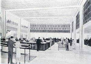 "The Main Banking Floor had 39 tellers along ""Tellers' Row""."