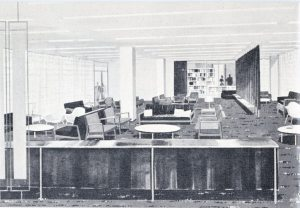 On the Staff Floor was the lounge, employees' cafeteria, infirmary, and the Bank Library with 2,000 volumes devoted to banking and economics.