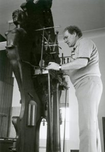 The Meier Clock being disassembled in preparation for its 1982 move from the Meier-owned. L.M. Gear Company to the Detroit Historical Museum.