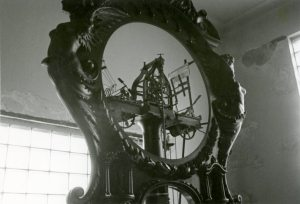 The clock's mechanism is revealed during its 1982 disassembly for transport to the Detroit Historical Museum.