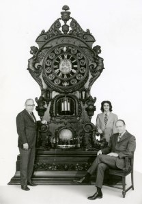 Members of the Meier Family pose with the Meier Clock, c. 1970.