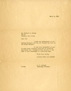 Response from H.F. Olmsted, Packard Publicity Director, 1932.