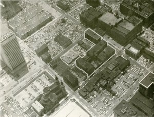 c. 1976, This aerial view shows the Traugott Schmidt & Sons block outlined.