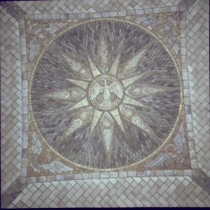 This Pewabic mosaic is installed above the altar of the crypt church within the National Shrine of the Immaculate Conception.