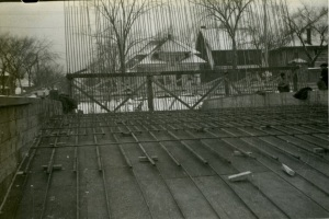 View of concrete forms and reinforcing bars for bridge at Third Avenue.