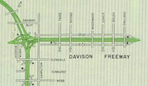 Davison Freeway as it appeared on a 1961 Wayne County highway map.