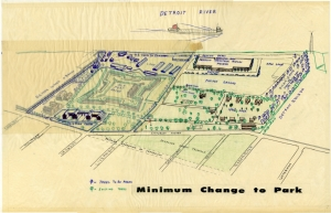 c. 1965, Drawing showing some of the proposed changes to the park, including the rerouting of West Jefferson Avenue and the construction of a green circle outside the entrance to the Fort.