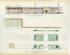 c. 1965, Elevation and the parking plan for the Detroit Industrial History Museum.
