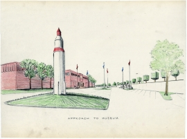 c. 1965, A view of the missile monument at the approach to the Detroit Industrial History Museum.