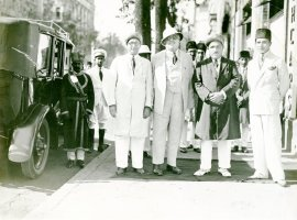 From left to right: Y.C. Mitha, the Aga Khan III, H.C. Mitha, and A. Rahimtulla