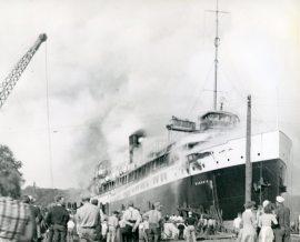 SS Hamonic on fire at Point Edward, Ontario, July 17, 1945