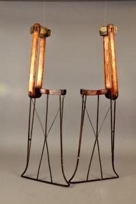 John Miner's stilt-skates in the collection of the Detroit Historical Society