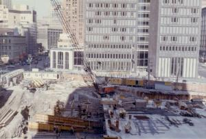 1965, construction of the parking garage.