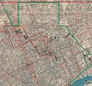The green line on this map traces the path of the World's Largest Stove during its 1965 move. Oakland Street, across which the stove traveled south from 8 Mile Road to McNichols during the final leg of its journey, is the current site of a stretch of I-75.