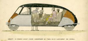 Cutaway drawing of a Stout Scarab, 1932.