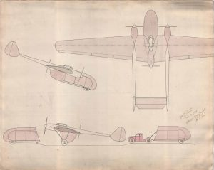 Concept drawing of airplane with attached trailer, c. 1941.
