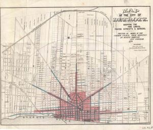 In 1870 it would have been important to show what parts of the city received certain services. This map is shaded pink where fire protection was offered, blue highlights paved roads, and red indicate sewer lines.