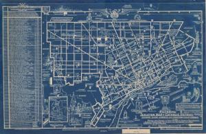 This illustrated map shows all the Catholic churches in the city in 1935.