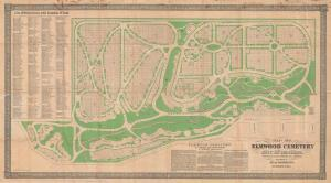 Founded in 1846, Elmwood is the oldest continuously operating, non-denominational cemetery in Michigan. This 1865 map published by Silas Farmer & Co. makes it easy to locate specific plots.