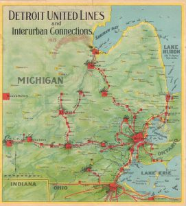 As we look forward to light-rail being reintroduced to the city, this map shows how extensive the interurban lines across southeastern Michigan were in 1913.