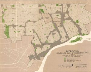 This composite plan of recreation sites prepared by the Department of Parks and Recreation and City Plan Commission 1950. It shows existing and proposed recreation sites.