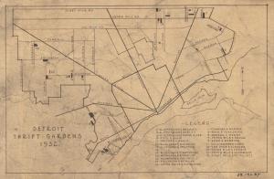 Another 1932 map shows Detroit's twenty three thrift gardens.