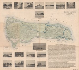 "Belle Isle wasn't quite as developed in 1895 as it is today. Notice the restrooms are called ""closets,"" there are water fountains for horses, and the three lakes have earlier names. The map is published by Silas Farmer & Co. and dedicated to Levi L. Barbour."
