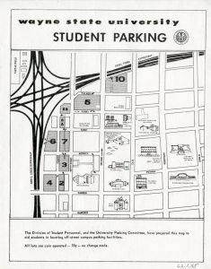 As this circa 1960 map shows, parking was just as important to Wayne State University students half a century ago as it is today. Although the 15¢ fee is part of history.