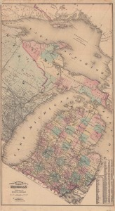 This 1874 map published by Everts and Stewart stands out from other state maps because of its unusual diagonal orientation.