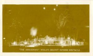 The fireworks display that closed the Awakening is captured here in a 1923 souvenir photograph.
