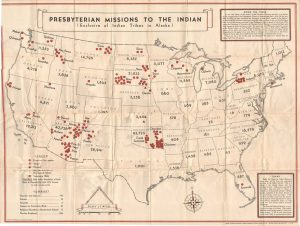 """A 1932 titled """"Presbyterian Missions to the Indian"""" shows the location and type of mission across the country and the number of Native American inhabitants in each state. Michigan has one Ojibway mission church."""